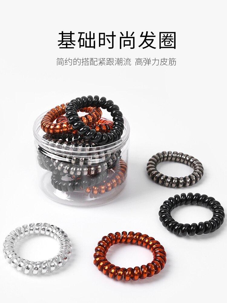 電話線發圈女小號細款韓國扎頭發頭繩簡約發繩黑色皮筋電線圈頭飾