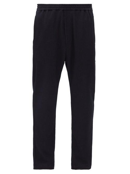 Barena Venezia - Bativoga Stripe-jacquard Cotton-twill Trousers - Mens - Navy