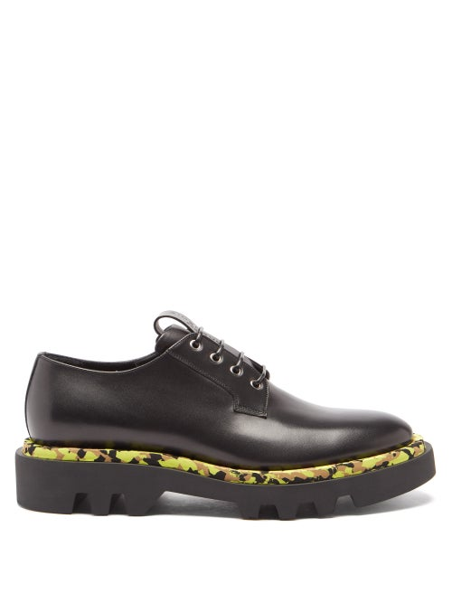 Givenchy - Camouflage-trim Leather Derby Shoes - Mens - Black