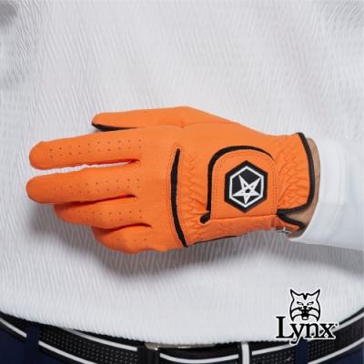 【Lynx Golf】Asher Chuck 多色系列男款防滑彈性高爾夫左手手套-橘色