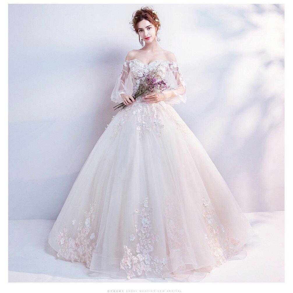 瑪姬禮服 仙氣花瓣空氣感喇叭袖時髦齊地婚紗禮服--新娘飾品瑪姬主義-  I105