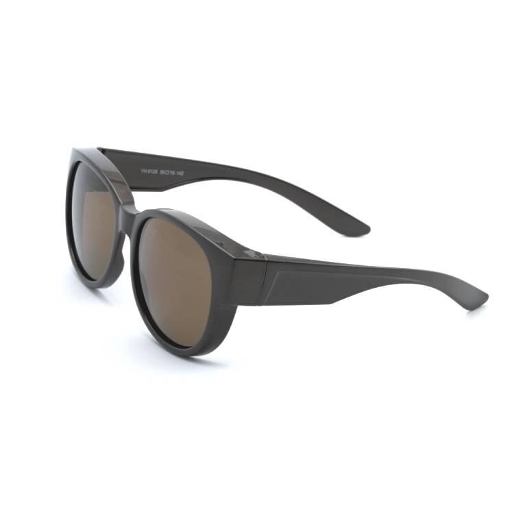 時尚暖栗棕圓框全罩式偏光墨鏡外掛式uv400太陽眼鏡包覆套鏡車用太陽眼鏡alegant