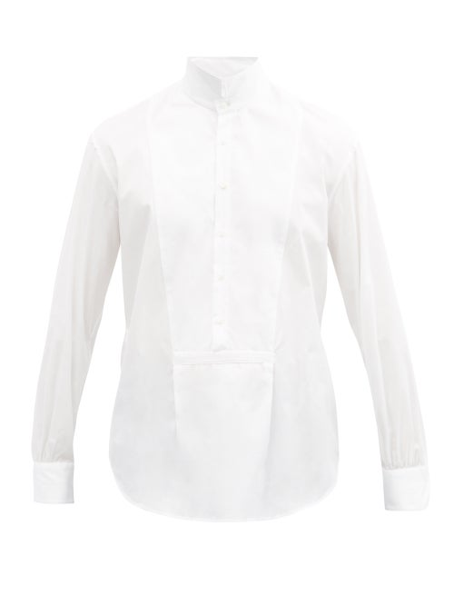 Bourrienne Paris X - Bal High-collar Cotton-poplin Bib Shirt - Mens - White