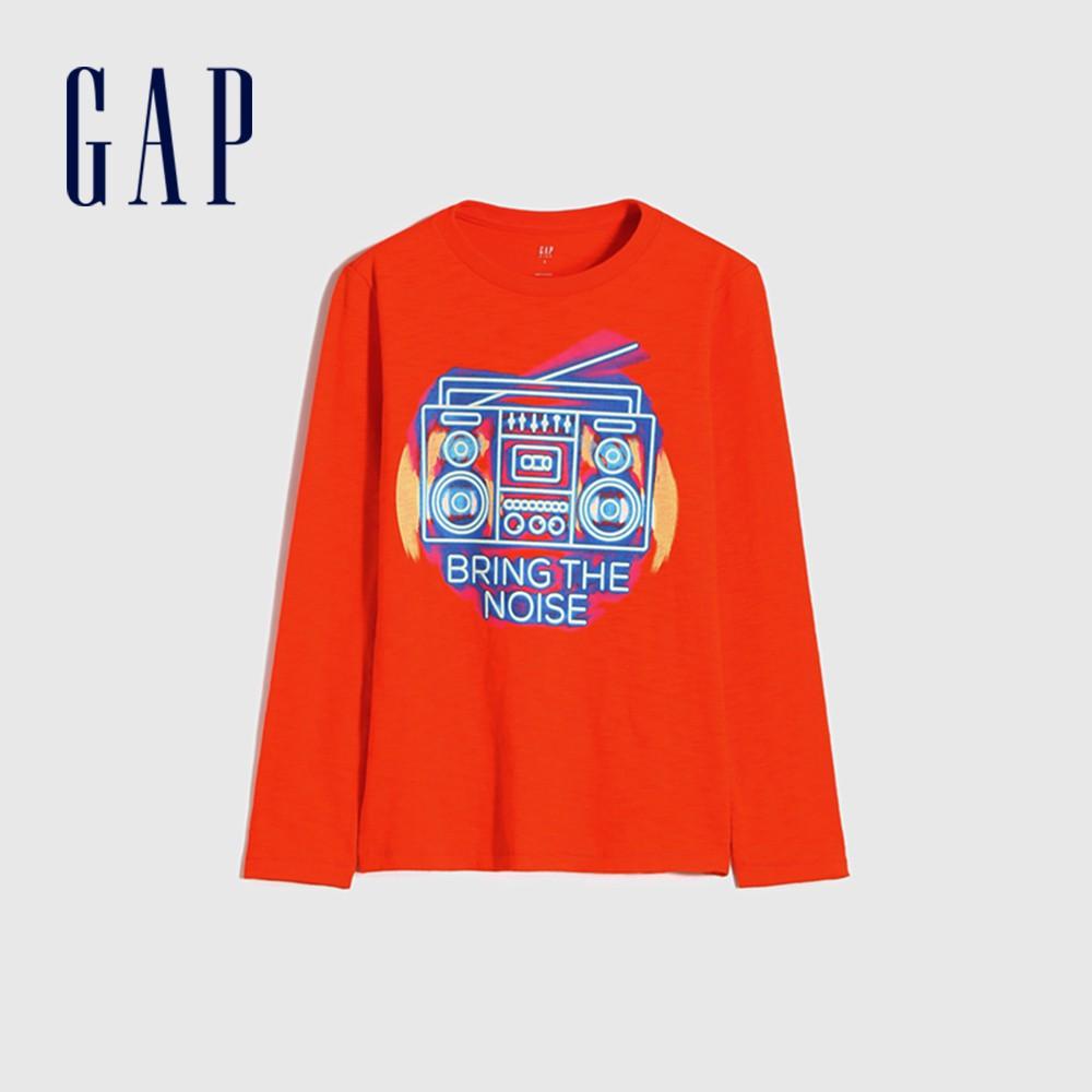 Gap 男童 創意印花圓領長袖T恤 648019-橙色