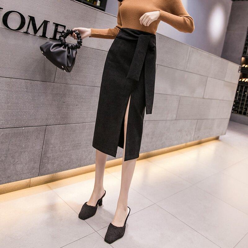 2020春裝女裝新款高腰系帶開叉a字半身裙女中長款不規則包臀裙子1入