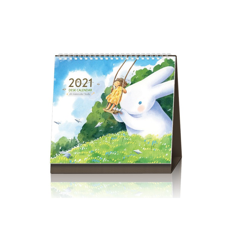 拼圖總動員 afu插畫桌曆 2021 簡單而美好 加贈大白兔明信片一套 一套三款 不挑款