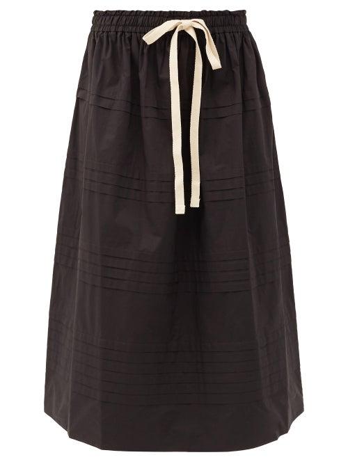 Lee Mathews - Robin Pleated Cotton-poplin Midi Skirt - Womens - Black