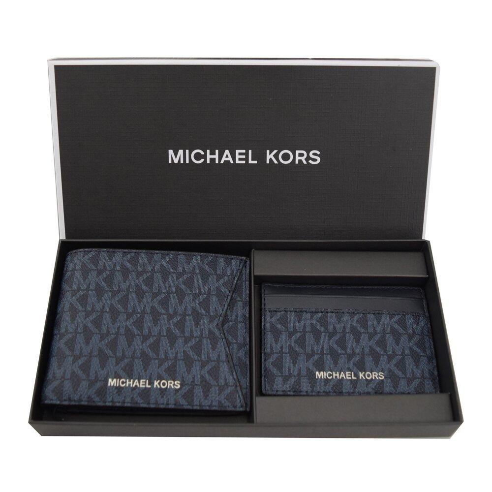 MICHAEL KORS 專櫃商品 GIFTING 滿版字母短夾名片夾禮盒組.深藍