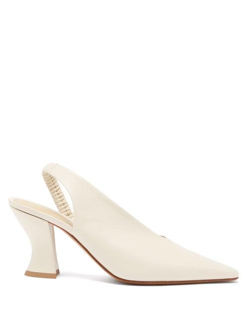 Bottega Veneta - Almond Leather Slingback Pumps - Womens - Ivory