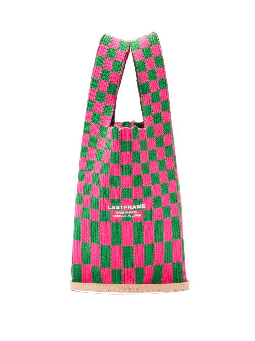 Lastframe - Ichimatsu Check Knitted Tote Bag - Womens - Green Multi