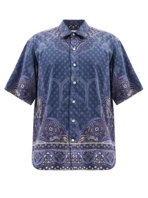 Etro - Paisley-print Cotton-poplin Shirt - Mens - Navy