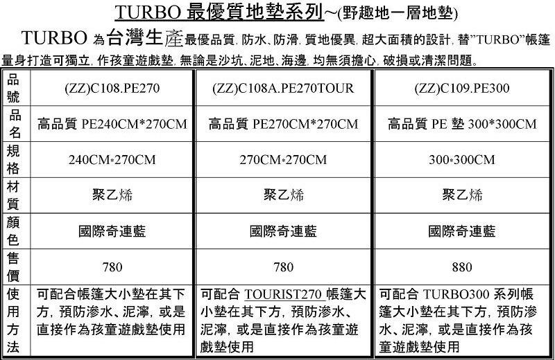 【RV運動家族】TURBO TENT 高品質PE地墊/地布/野餐墊(3 m x 3 m)