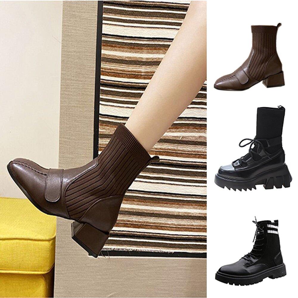 【韓國K.W.】(預購) 限量爆殺↘韓國首推襪靴中短筒靴系列-5款可選