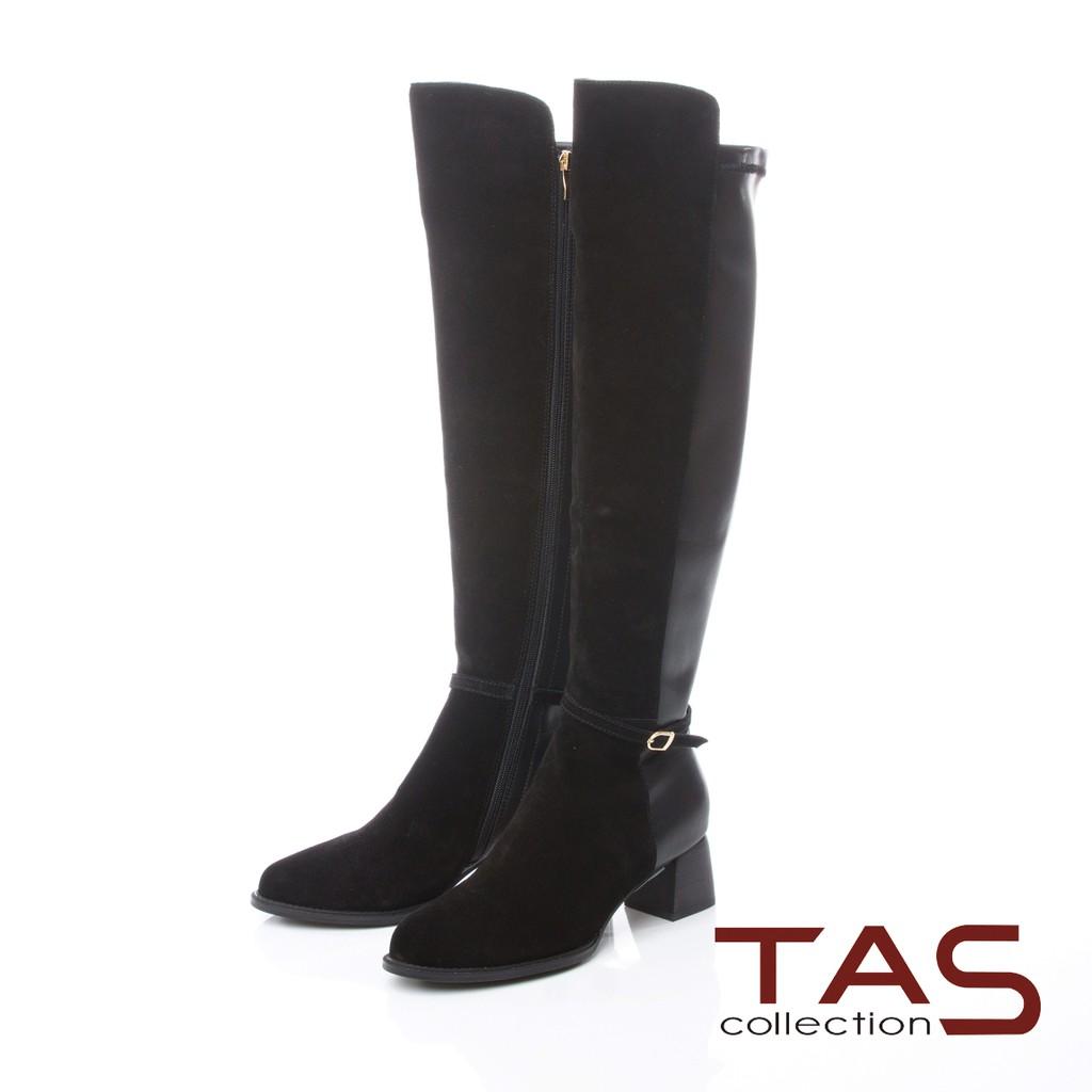 TAS前高後低金屬皮帶扣粗跟長靴–時尚黑