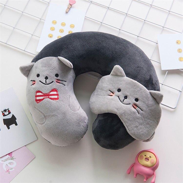 u型枕頭帶眼罩可愛辦公室午睡枕頸椎U形枕