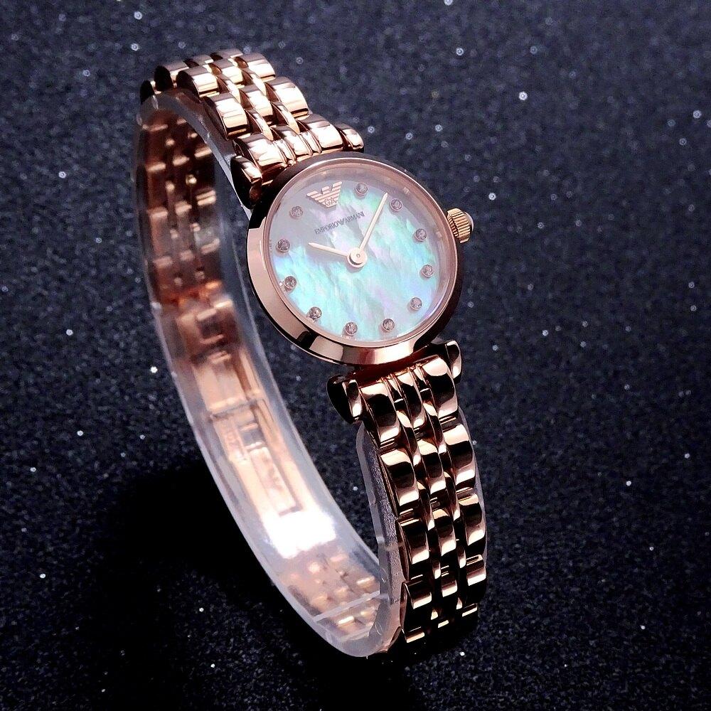 感恩母親節↘全品項5折up|ARMANI 鄰家的小女人時尚精巧型腕錶22mm-玫瑰金色-AR11203  |情人節寵愛禮