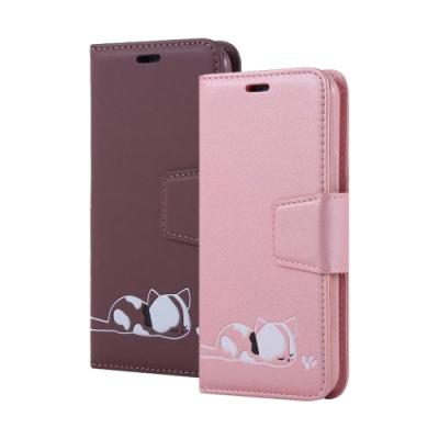 iPhone XR 磁吸式 可愛 小貓咪 可插卡 翻蓋 手機 皮套 支架 軟邊 手機殼 紫色款 (iPhoneXR手機殼 iPhoneXR保護殼 )