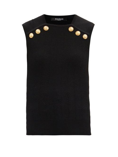 Balmain - Sleeveless Ribbed Sweater - Womens - Black