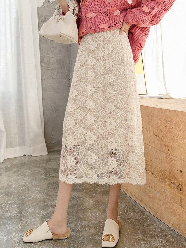 2019秋冬新款蕾絲鏤空針織半身裙高腰顯瘦過膝遮胯兩面穿中長裙女1入