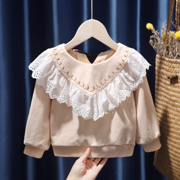 女童衛衣2020春秋裝新款韓版寶寶洋氣花邊套頭衫百搭兒童長袖上衣