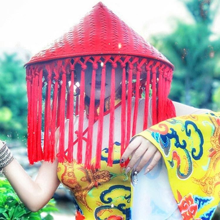限時折扣!斗笠 復古竹編流蘇斗笠帽子舞臺表演配飾女歌手夜店演出帽子紅色道具