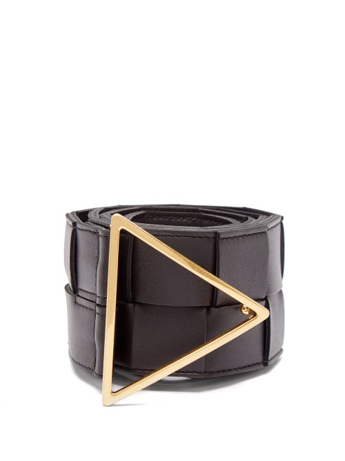 Bottega Veneta - Triangle-buckle Intrecciato-leather Belt - Womens - Black