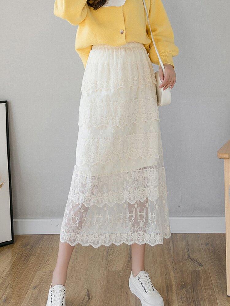 a字半身裙女2020春裝女裝新款高腰顯瘦網紗蕾絲裙子中長款蛋糕裙1入