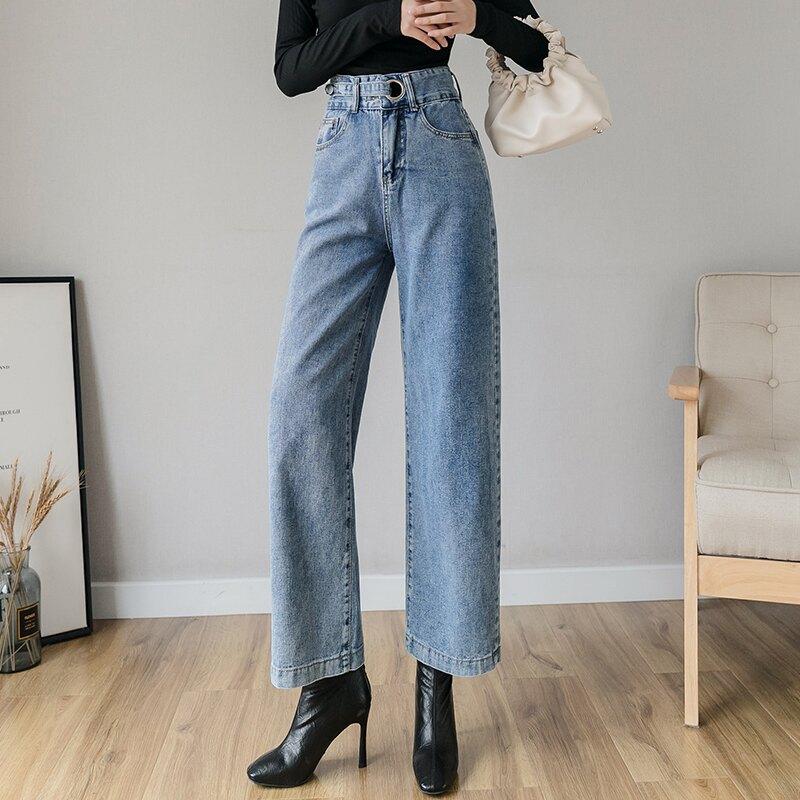 高腰牛仔褲女2020年春裝新款韓版chic復古直筒闊腿褲百搭九分褲潮1入