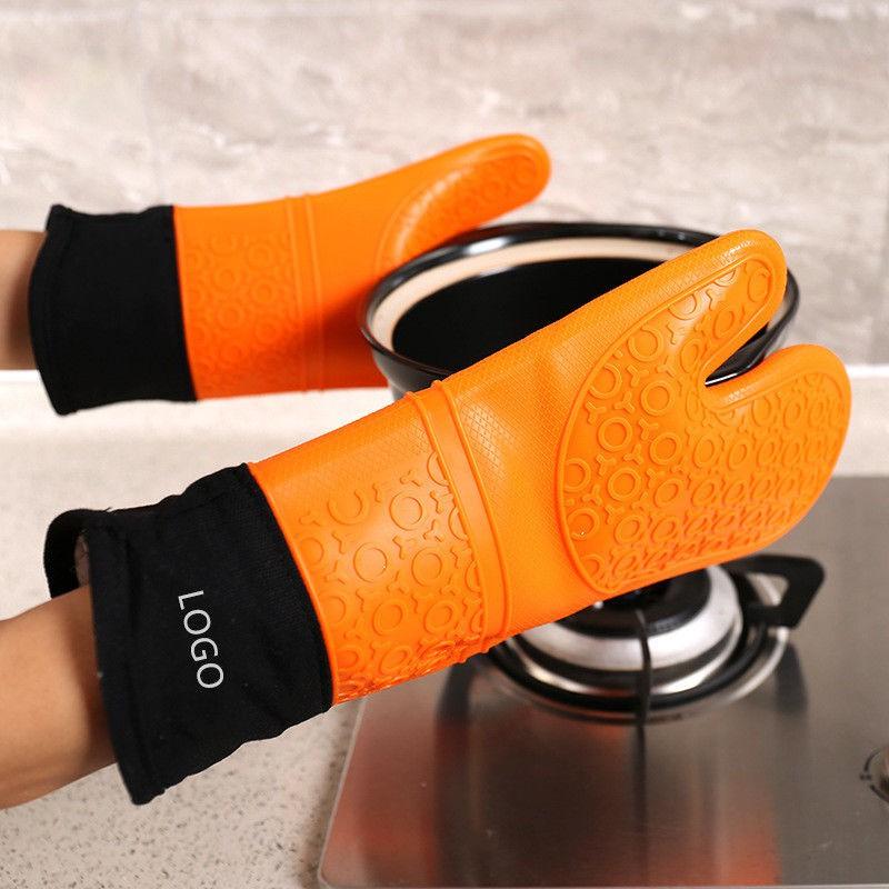 矽膠隔熱手套2片加厚矽膠手套微波爐手套烘烤防滑防滑耐熱耐高溫五指手套烤箱