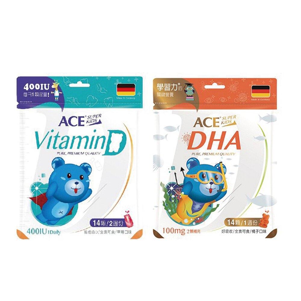 ACE 維生素D 軟Q糖 (14顆) / ACE 學習力+的 DHA 軟Q糖 (14顆)