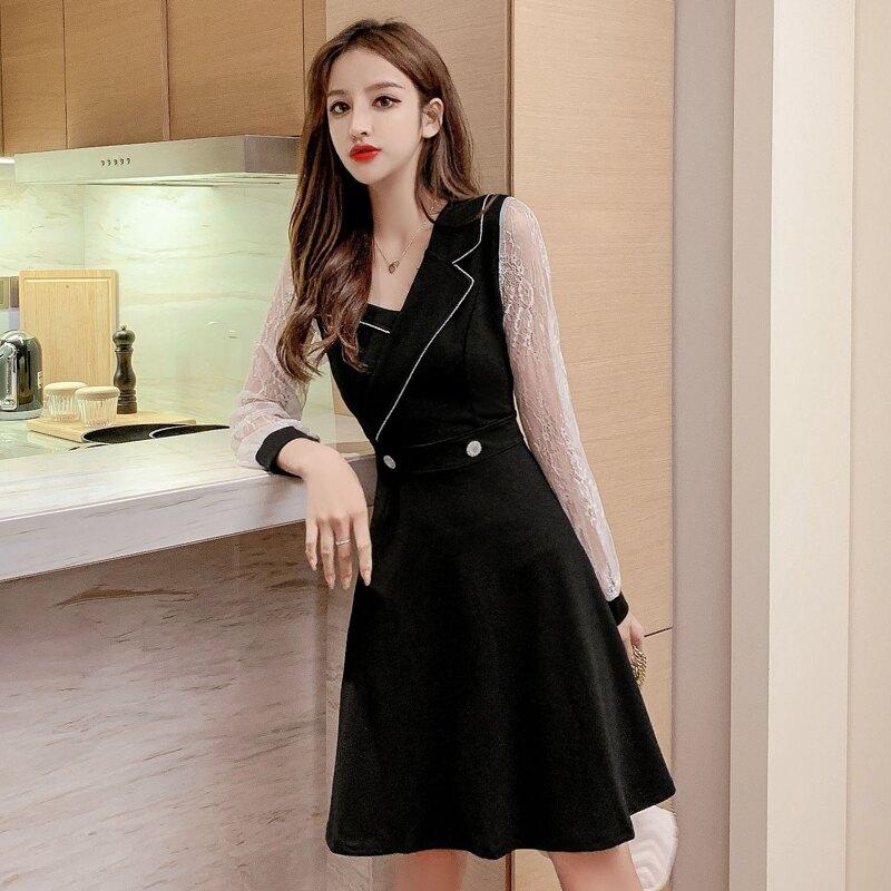 赫本小黑裙2020春裝新款韓版繡花拼接網紗長袖收腰顯瘦連衣裙女裝1入