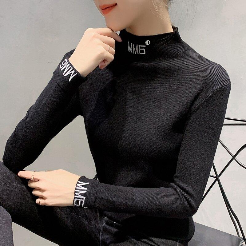 針織衫秋冬新款女修身洋氣打底衫2019韓版百搭加厚高領毛衣女內搭1入