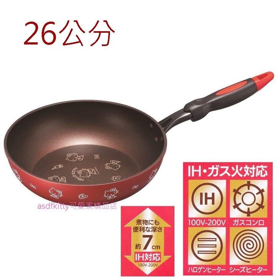 asdfkitty*KITTY紅色不沾平底鍋-26公分--IH爐.電磁爐.瓦斯爐可用-日本正版商品