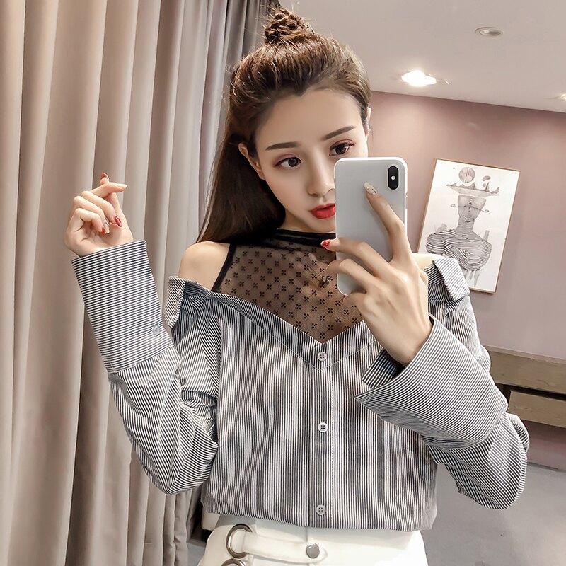 2020春裝女裝新款V領性感透視蕾絲襯衫女設計感小眾顯瘦長袖上衣1入