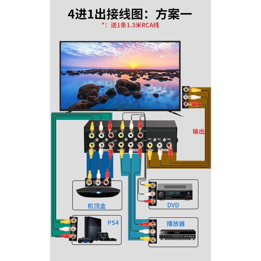 AV切換器  四進一出音視頻分配器 4進1出  音頻切換器 三進轉換器