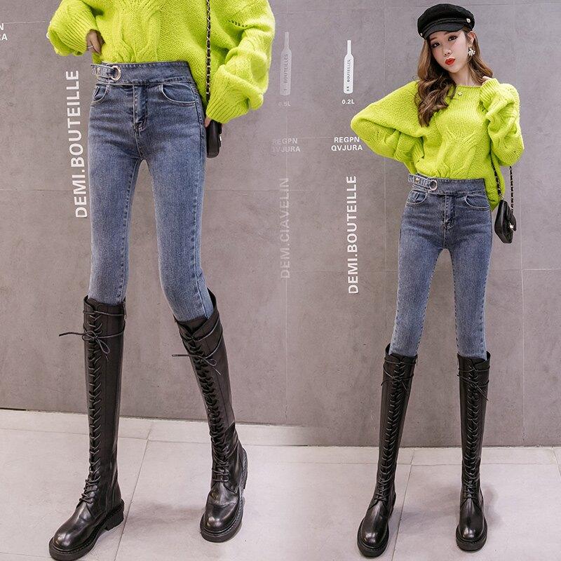 冬季牛仔褲女帶絨小腿薄絨高腰顯瘦小褲腳彈力緊身黑灰色鉛筆長褲1入