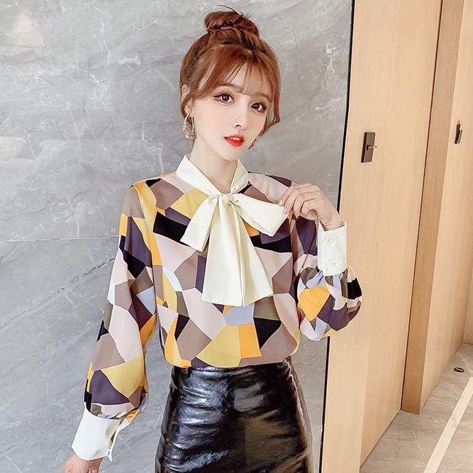 襯衫女設計感小眾2020春裝新款韓版幾何拼色蝴蝶結系帶長袖襯衣潮1入