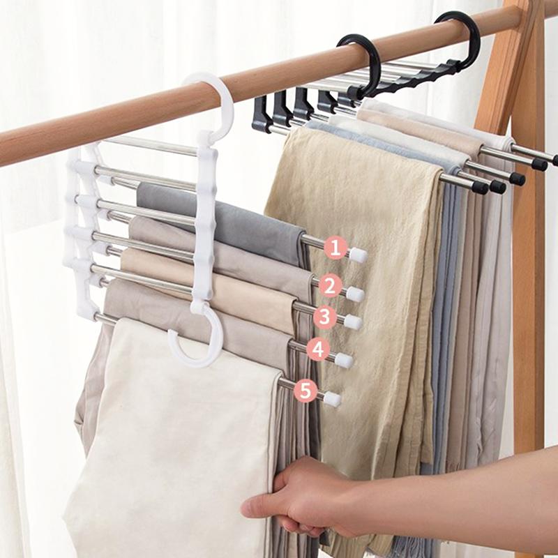 北歐風五合一不鏽鋼伸縮折疊衣褲架