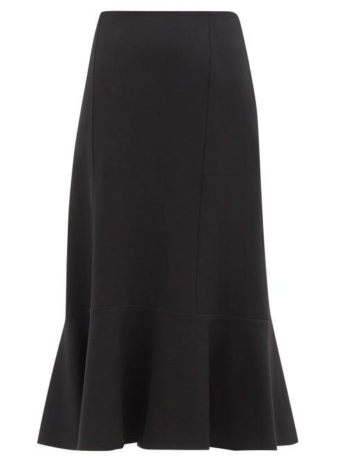 Jil Sander - Fluted Wool-twill Pencil Skirt - Womens - Black