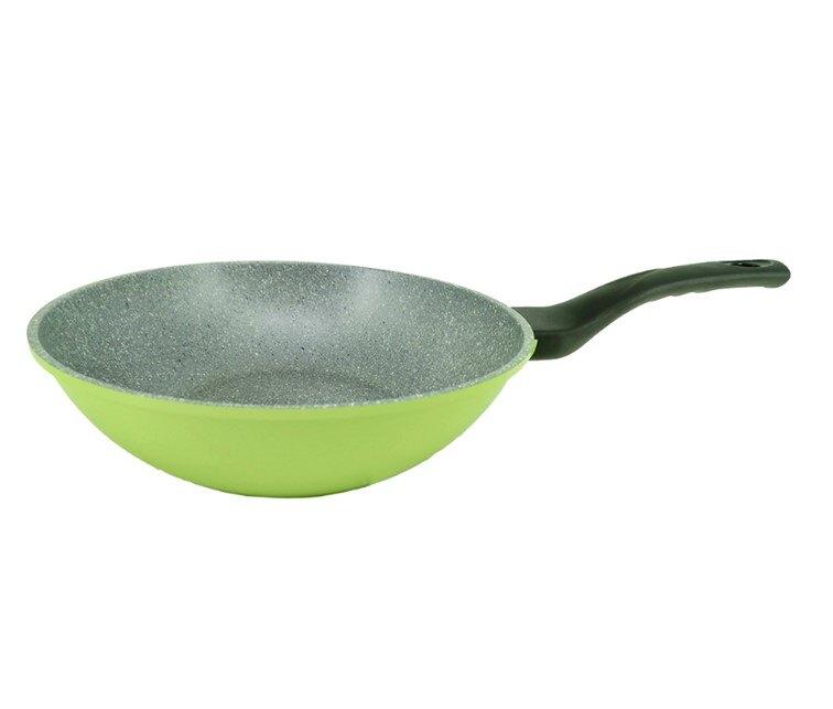 韓國Ecoramic鈦晶石頭抗菌不沾鍋 【28cm 粉色 平底鍋 】【28cm 綠色深底鍋 】【28cm鍋蓋】