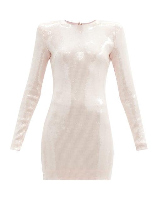Alexandre Vauthier - Padded-shoulder Sequinned-jersey Mini Dress - Womens - Light Pink