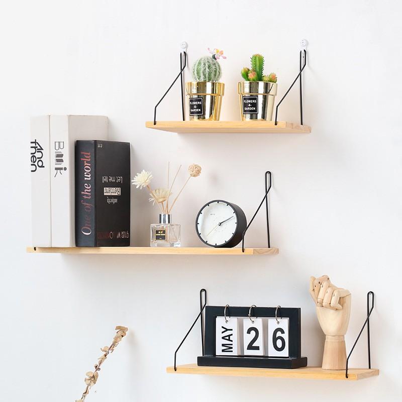 Pattern拾光ღ 北歐木質墻上置物架 實木一字隔板客廳玄關墻面臥室墻壁收納壁掛