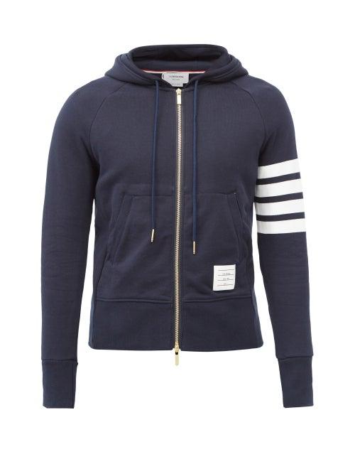 Thom Browne - Four-bar Zip-through Cotton Hooded Sweatshirt - Mens - Navy