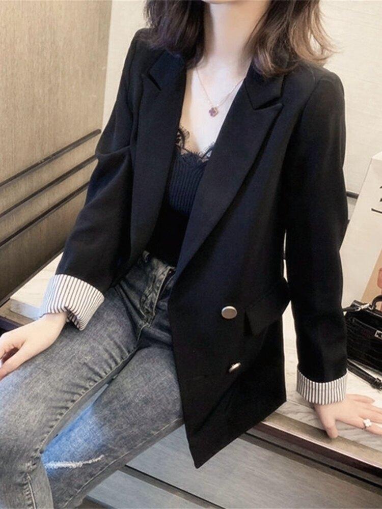 西裝外套女 2020年秋冬季新款復古氣質短款西裝毛呢外套女小個子加厚妮子大衣『CM40884』