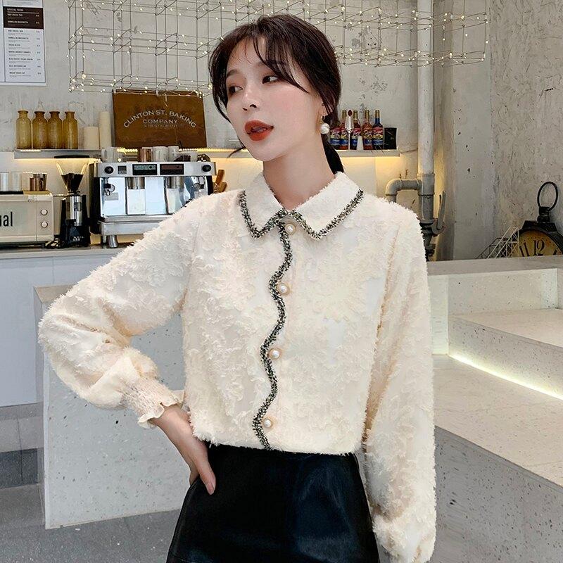 加絨加厚蕾絲打底衫女2019秋冬新款娃娃領設計感流蘇白色雪紡襯衫1入