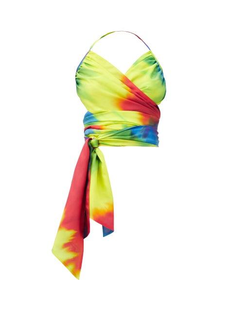 Alexandre Vauthier - Halterneck Tie-dye Silk Wrap Top - Womens - Multi