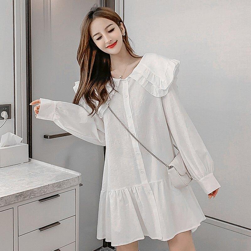 裙子女春裝2020新款韓版甜美娃娃領寬松開衫中長款長袖襯衫連衣裙1入