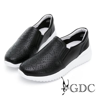 GDC-真皮沖孔鑲鑽舒適懶人休閒鞋-黑色