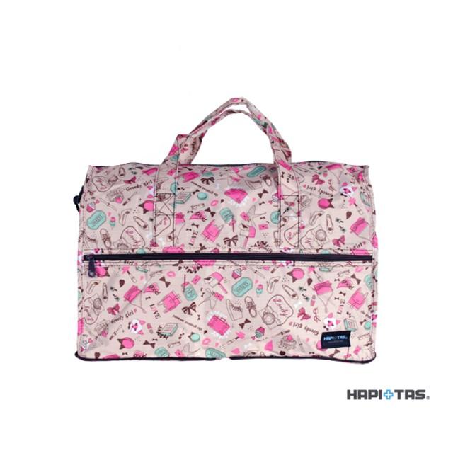 可插拉桿,輕鬆托運*【HAPI+TAS】 H0002-F 日本時尚輕便摺疊旅行袋 (小)