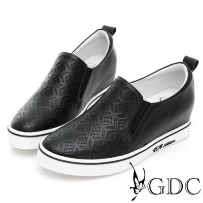 GDC-真皮印花圖騰素色休閒車邊懶人休閒鞋-黑色